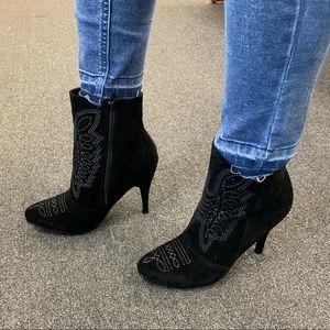 Ladies almond toe high heels embroidery booties